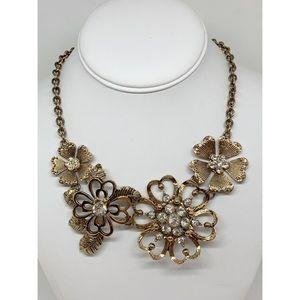 Premier Designs Gold Flower Rhinestone Necklace
